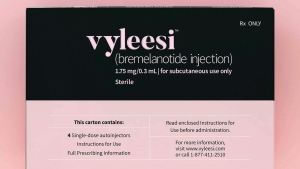 This image provided by Amag Pharmaceuticals in June 2019 shows packaging for their drug Vyleesi. The medication OK'd Friday, June 21, 2019 by the U.S. Food and Drug Administration is only the second approved to increase sexual desire in a women, a market drugmakers have been trying to cultivate since the blockbuster success of Viagra for men in the late 1990s. (Amag Pharmaceuticals via AP)