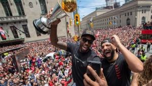 Toronto Raptors' Kawhi Leonard celebrates during the 2019 Toronto Raptors Championship parade in Toronto, on Monday, June 17, 2019. THE CANADIAN PRESS/Frank Gunn