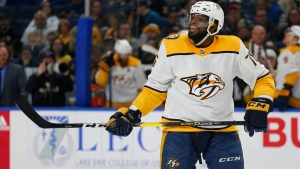 Defenceman P.K. Subban is headed to the New Jersey Devils.The Nashville Predators dealt the 30-year-old Toronto native to the Devils on Saturday ahead of the second round of the NHL draft. Subban (76) celebrates his goal during second period NHL hockey action against the Buffalo Sabres, in Buffalo, N.Y., Tuesday, April 2, 2019. THE CANADIAN PRESS/AP-Jeffrey T. Barnes