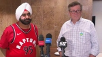 Mayor John Tory and Raptors' superfan Nav Bhatia