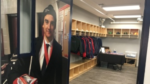 The door inside the Adam Herold Memorial Room, which will be used by Pat Canadians players in seasons to come. (Cole Davenport/CTV Regina)