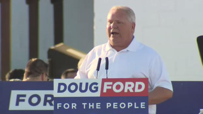 Ontario Premier Doug Ford speaks at the 2019 Ford Fest.