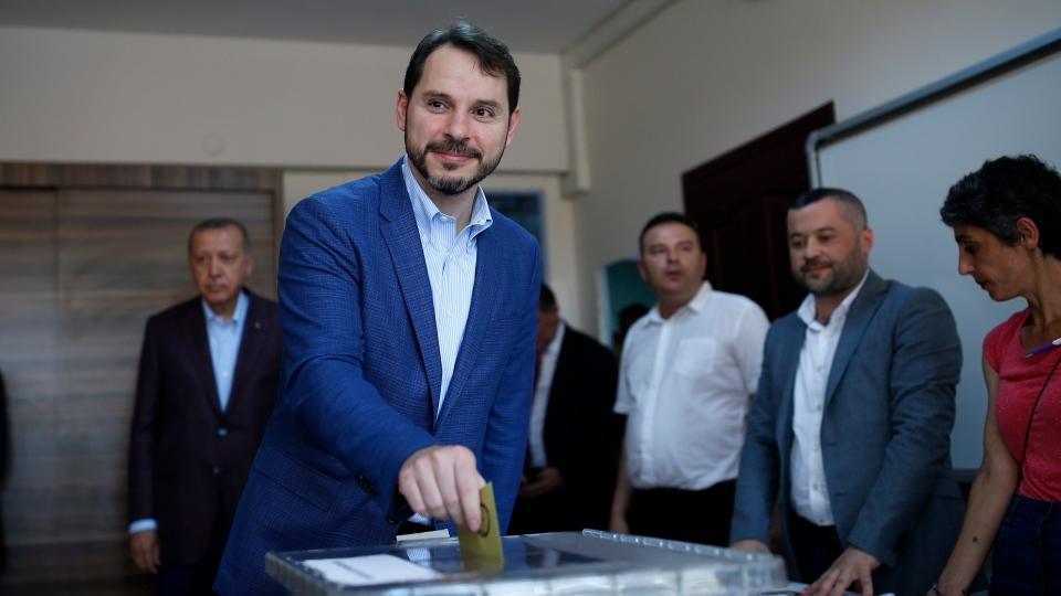 Turkey's Minister of Treasury and Finance Berat Albayrak casts his ballot at a polling station in Istanbul, Sunday, June 23, 2019.  (AP Photo/Emrah Gurel)