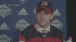 Kitchener Rangers player Michael Vukojevic after he was selected by the New Jersey Devils in the 2019 NHL Draft.