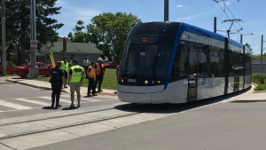 An ION train was stopped at the intersection of Ottawa and Mill Streets due to a minor collision on Sunday.
