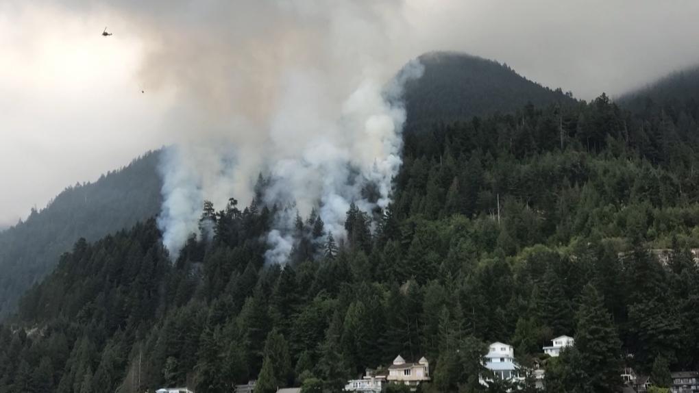 Wildfire burning alongside Sea to Sky Highway