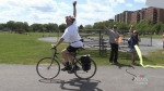 Emotional journey ends for biking dad