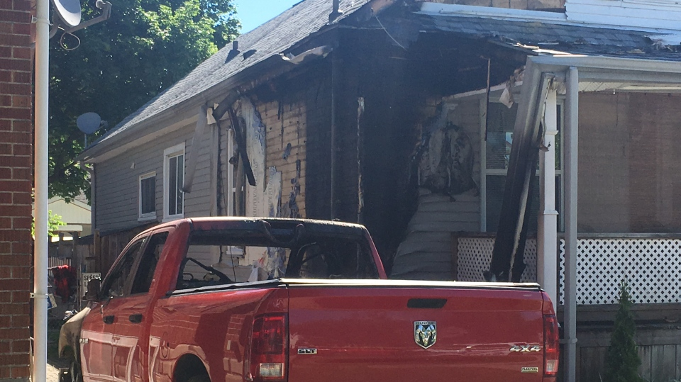 A truck fire damaged a home in London, Ont. on Sunday, June 23, 2019. (Brent Lale / CTV London)