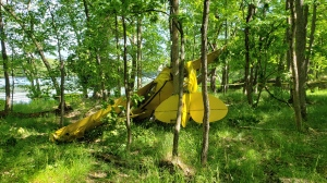 A float plane crashed on Tobins Island near Shoeshoe Bay in the Township of Muskoka Lakes on Sunday June 23, 2019 (Courtesy: Muskoka Lakes Fire)