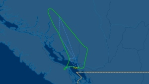 The flight path shows the plane - Air Canada flight 538 - departing YVR on time, travelling toward its destination of Anchorage, Ak., and then turning around mid-flight. (Image: FlightAware)
