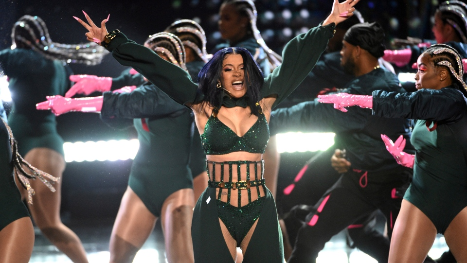 Cardi B performs at the BET Awards on Sunday, June 23, 2019, at the Microsoft Theater in Los Angeles. (Photo by Chris Pizzello/Invision/AP)
