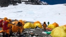 This May 21, 2019, photo provided by climber Dawa Steven Sherpa shows Camp Four, the highest camp on Mount Everest littered with abandoned tents. (Dawa Steven Sherpa/Asian Trekking via AP)