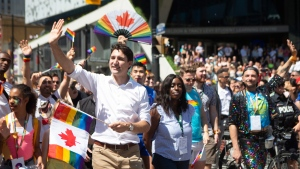 Prime Minister Justin Trudeau walks in Toronto's Pride parade, on Sunday, June 23, 2019. THE CANADIAN PRESS/Chris Young