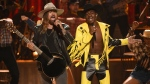 """Billy Ray Cyrus, left, and Lil Nas X perform """"Old Town Road"""" at the BET Awards on Sunday, June 23, 2019, at the Microsoft Theater in Los Angeles. (Photo by Chris Pizzello/Invision/AP)"""