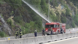 Wildfire closes part of highway north of Vancouver