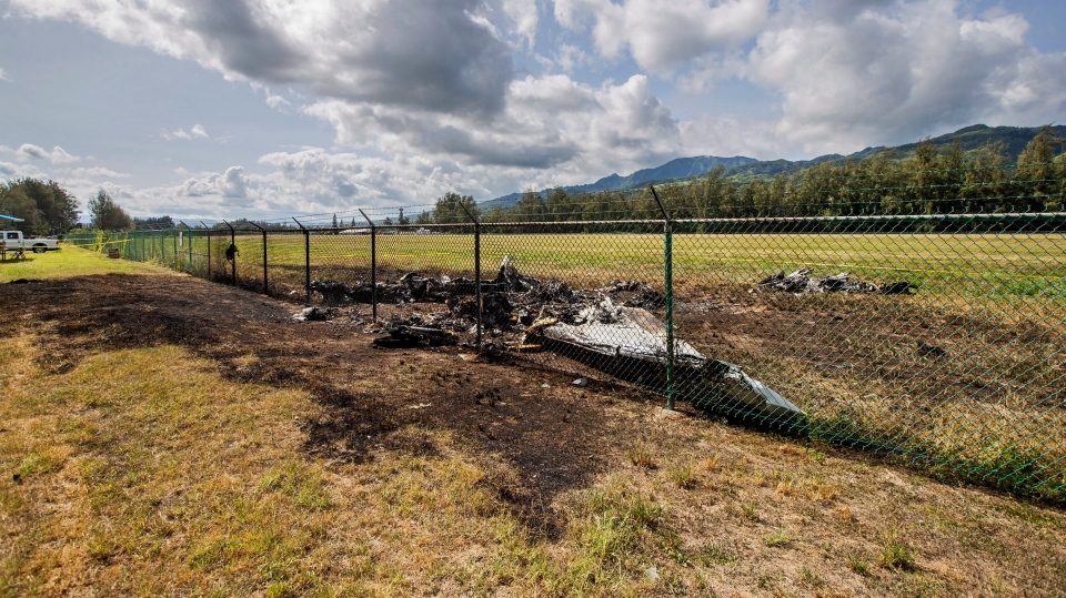 This is the site where a Beechcraft King Air twin-engine plane crashed Friday evening killing multiple people seen on Saturday, June 22, 2019, in Mokuleia, Hawaii. (Dennis Oda/Honolulu Star-Advertiser via AP)