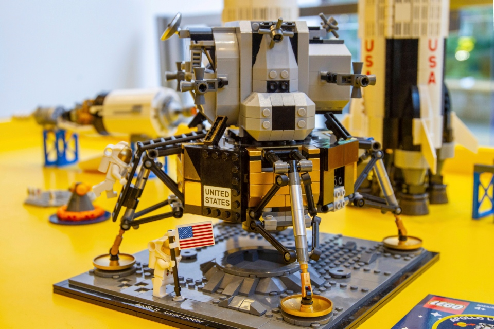 A Lego model of the Apollo 11 lunar lander is displayed in the company's store in New York on Tuesday, June 18, 2019. (AP Photo/Marshall Ritzel)