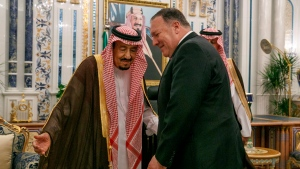 U.S. Secretary of State Mike Pompeo, right, meets with King Salman at Al Salam Palace in Jeddah, Saudi Arabia, Monday, June 24, 2019. Pompeo is conducting consultations during a short tour of the Middle East, including visits to Saudi Arabia and United Arab Emirates. (AP Photo/Jacquelyn Martin, Pool)