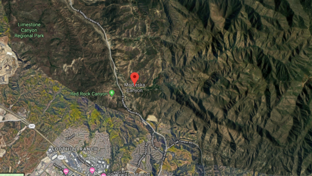 Modjeska Canyon is seen in this satellite image. (Google Maps)