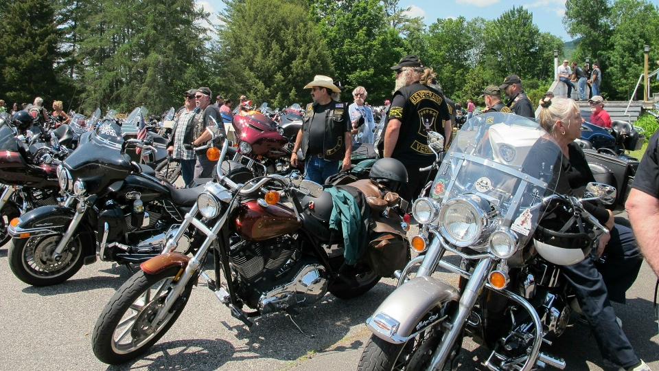 Motorcyclists attend the Blessing of the Bikes ceremony in Columbia, N.H. on Sunday, June 23, 2019. (AP / Lisa Rathke)