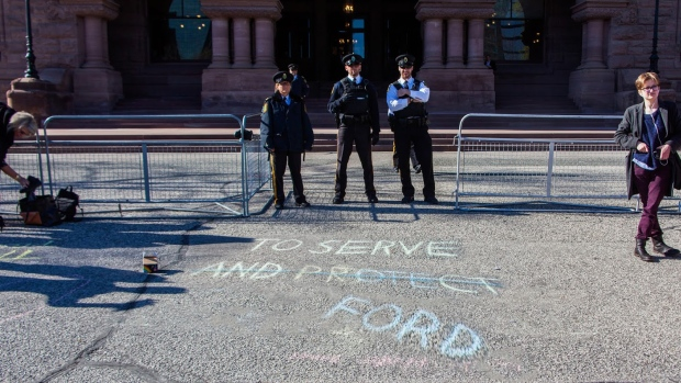A 15-year-old Toronto student has received a $1,444.51 bill for the clean-up of sidewalk chalk graffiti after a student protest against education cuts at the Ontario legislature. (Photo courtesy Amina Vance)