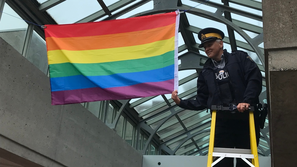 A pride flag was put up in the Surrey RCMP headquarters for the first time on Monday, June 24.