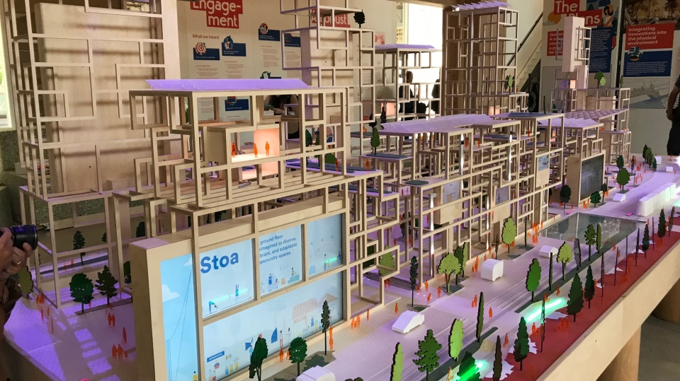 Plans for Toronto's Waterfront are seen in this prototype. (CTV News Toronto / Sean Leathong)