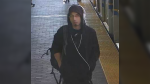 On Monday, police released a surveillance image of a suspect wanted in connection with a SkyTrain flashing incident that was reported on April 29, 2019. (Handout)