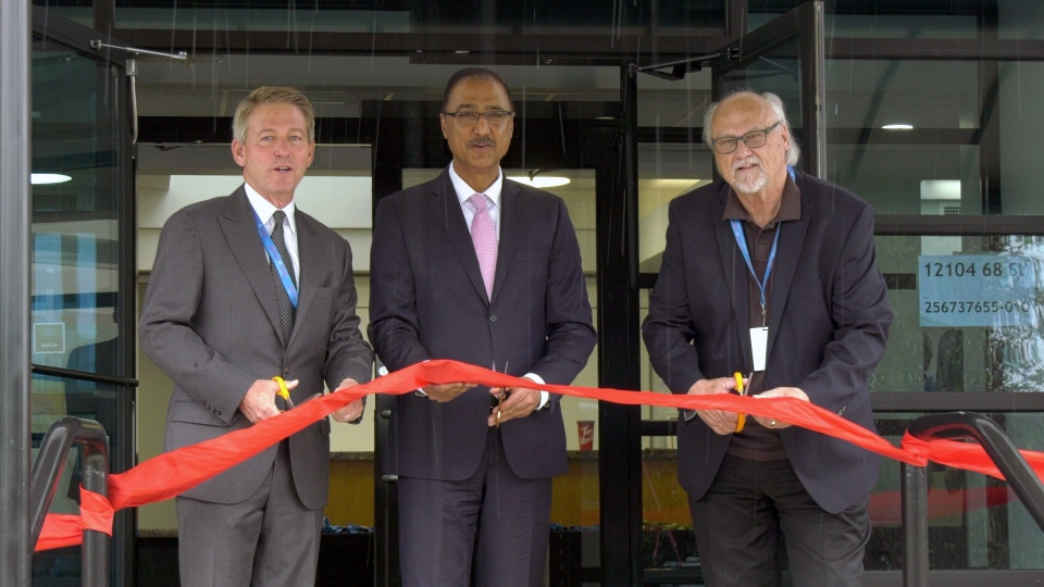 Brian Farrell,Chairman of the Jerry Forbes Centre, MP Amarjeet Sohi and Marty Forbes cut the ribbon for the Jerry Forbes Centre for Community Spirit on June 24, 2019. (Sean McClune/CTV Edmonton)