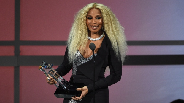 Mary J. Blige accepts the lifetime achievement award at the BET Awards on Sunday, June 23, 2019, at the Microsoft Theater in Los Angeles. (Photo by Chris Pizzello/Invision/AP)