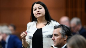 Minister for Women and Gender Equality and Minister of International Development Maryam Monsef rises during Question Period in the House of Commons on Parliament Hill in Ottawa on Friday, April 5, 2019. (THE CANADIAN PRESS/Justin Tang)