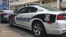 A Windsor police cruiser sits outside of headquarters in Windsor, Ont., on Monday, June 24, 2019. (Chris Campbell / CTV Windsor)