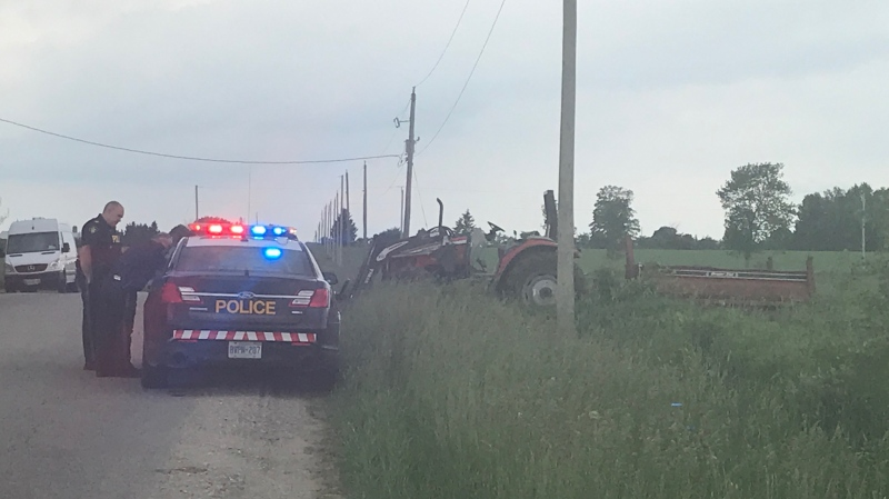 OPP at the scene of a fatal farm accident south of Mount Forest. (June 24, 2019)