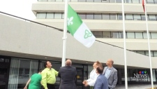 Permanent Franco-Ontario flag flying in Sudbury