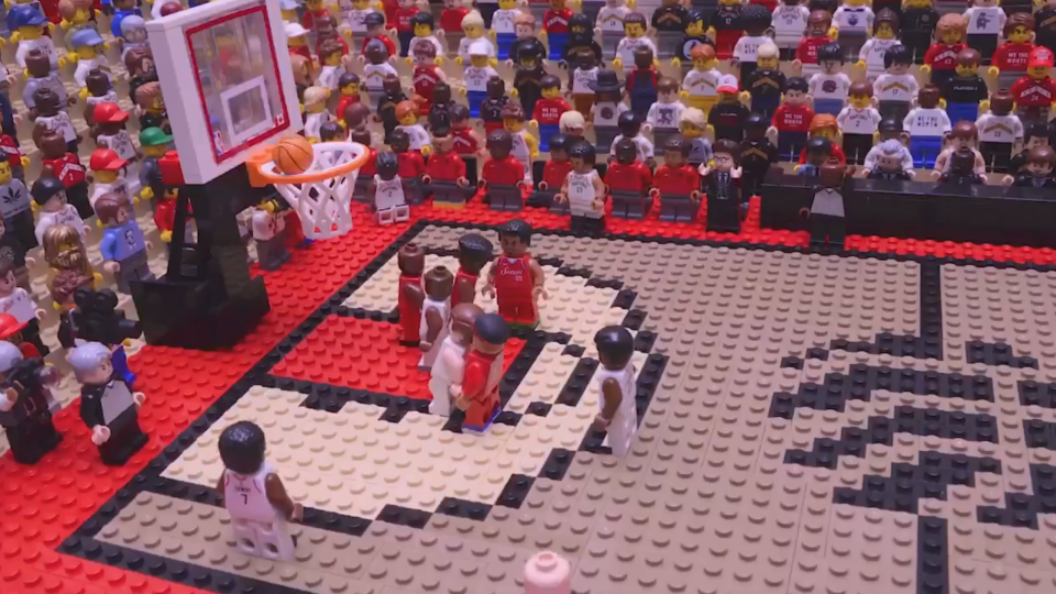 Kawhi Leonard's iconic buzzer-beater has been recreated in a Lego stop-motion video. (Jared Jacobs/@GoldYeller, Twitter)