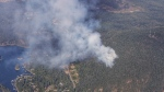 A small wildfire is burning near Pender Harbour. (Gary Barndt / CTV News Vancouver)