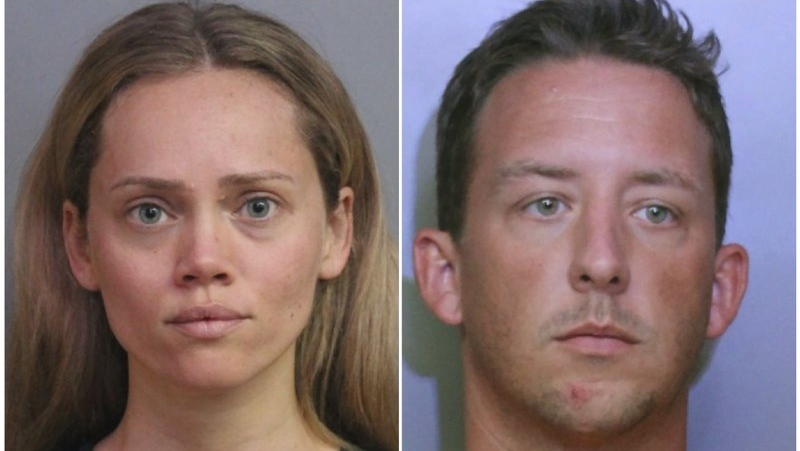 This combination of booking photos provided by the Polk County Sheriff's Office shows Courtney Irby on June 15, 2019, and her husband Joseph Irby on June 14. (Polk County Sheriff's Office via AP)