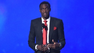 NBA player Pascal Siakam, of the Toronto Raptors, accepts the NBA most improved player award at the NBA Awards on Monday, June 24, 2019, at the Barker Hangar in Santa Monica, Calif. (Photo by Richard Shotwell/Invision/AP)