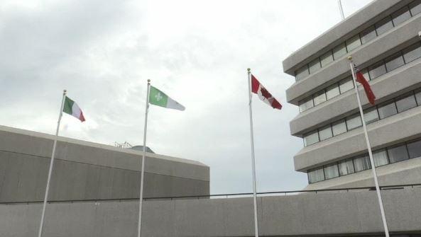 Permanent Franco-Ontarian flag at Sudbury city hall