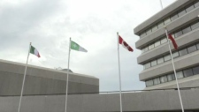 The flags at Sudbury city hall