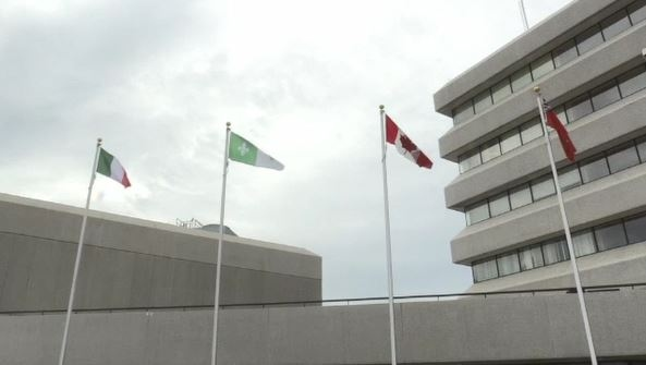 The Franco-Ontarian flag will fly permanently at Sudbury's Tom Davies Square. (Molly Frommer/CTV Northern Ontario)