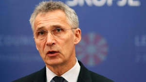 NATO Secretary General Jens Stoltenberg talks for the media during a news conference with North Macedonia Prime Minister Zoran Zaev, not pictured, following their meeting with 29 ambassadors of top Alliance body (North Atlantic Council) in Skopje, North Macedonia, Monday, June 3, 2019. AP Photo/Boris Grdanoski)