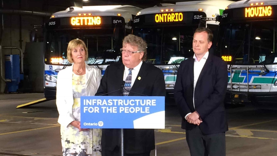 London Mayor Ed Holder speaks at a provincial funding announcement for transit in London, Ont. on Tuesday, June 25, 2019. (Wayne Jennings / CTV London)