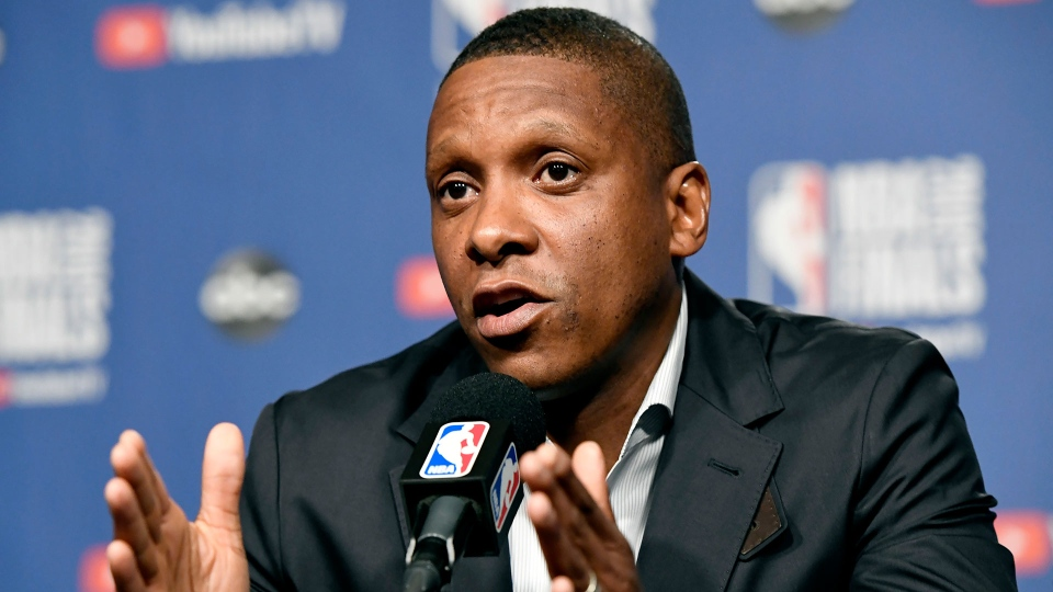 Toronto Raptors' Masai Ujiri speaks to media during an availability in the lead up to tomorrow's NBA Final game 1 against the Golden State Warriors, in Toronto on Wednesday, May 29, 2019. THE CANADIAN PRESS/Frank Gunn