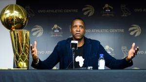 Toronto Raptors president Masai Ujiri speaks to the media during a year end press conference in Toronto on Tuesday, June 25, 2019. THE CANADIAN PRESS/Nathan Denette