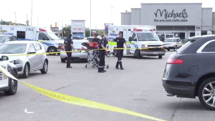Paramedics at the scene of a triple shooting in Kitchener. (June 24, 2019)