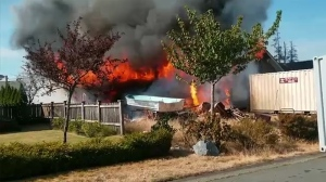 Fire officials deemed the blaze suspicious in the immediate aftermath Tuesday. (Campbell River Fire Department)