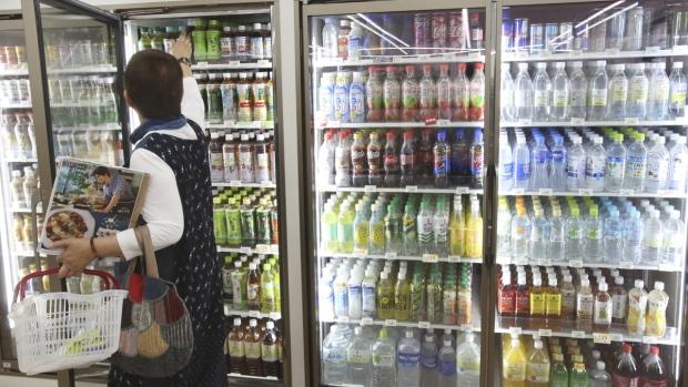 Plastic-bottled soft drinks for sale in Yokohama