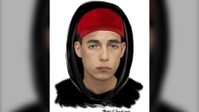 A suspect wanted in connection with a sexual assault in Aurora on June 25, 2019 is seen. (York Regional Police handout)