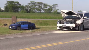 Two cars collided at the intersection of Wilmot Centre and Bleams Road on Wednesday. (June 26, 2019)